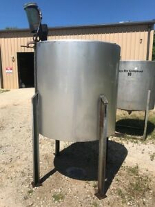 400 Gallon 316 Stainless Vertical Mix Tank On Legs 2hp Mixer Cone Bottom