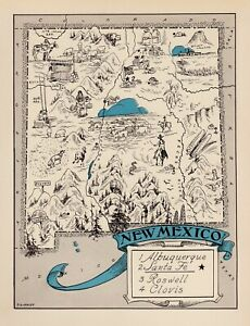 1930s Animated New Mexico State Map Rare Map Reprint Map Of New Mexico Usbl