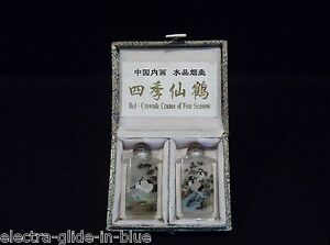 Set Of Two Internally Painted Signed Chinese Crystal Glass Snuff Bottles