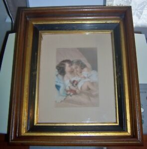 Antique Walnut Deep Picture Frame With Little Girls Chromolithograph 12 X 14