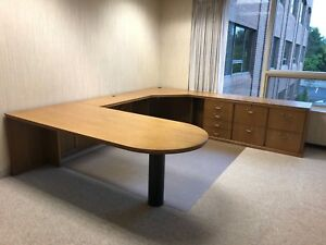 Executive U shape Desk By Darran Office Furniture In Med Oak Finish Wood