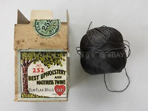 Antique Elm Flax Mills Upholstery Mattress Twine W Dispenser Country Store