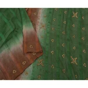 Tcw Vintage Saree 100 Pure Silk Hand Beaded Green Fabric Premium Sari