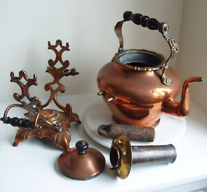 Large Victorian Copper Bras Kettle With A Iron Heater Mounted On Stand 41cm Tall