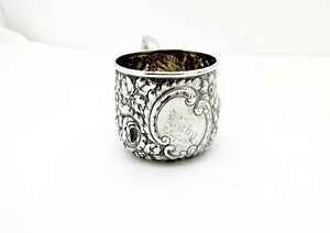 Antique Howard Sterling Silver Floral Repousse Baby Cup July 6th 1893