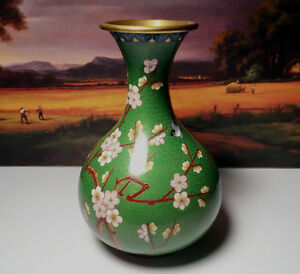 Vintage Chinese Green And Gold Trim Flowered Cloisonne Brass Vase