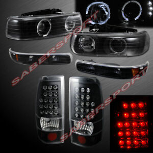 Set Of Black Halo Projector Headlights Led Taillights For 99 02 Silverado