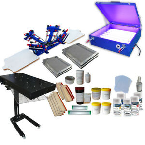 4 Color Screen Printing Kit Flash Dryer Uv Exposure Unit Screen Frame Hand Tool