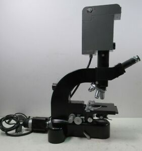 Leitz Wetzlar Ortholux Trinocular Microscope Germany W Orthomat Black Era 5 Lens