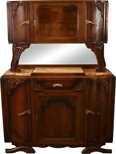 1920 Art Deco Buffet French Oak Midcentury Modern Colored Marble Top