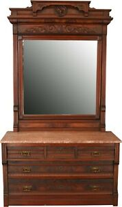 Antique Eastlake Vanity Dressing Table 1890 Red Rose Marble Mahogany