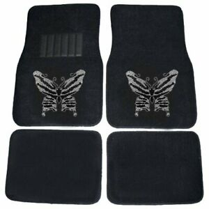 Black And White Big Butterfly Crystal Studded Rhinestone Floor Mats