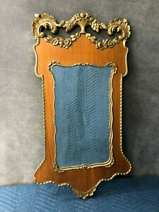 Vintage Victorian Wall Mirror Wood Glass Gold Art Nouveau Hanging Gesso Antique