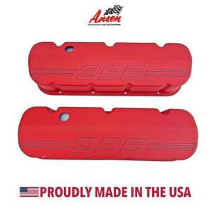 Big Block Chevy 396 Outline Valve Covers Red Die cast Aluminum Ansen Usa