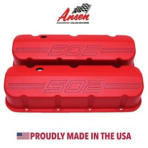 Big Block Chevy 502 Outline Valve Covers Red Die cast Aluminum Ansen Usa