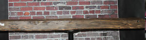 Rustic Reclaimed Mantle Hand Hewn Oak Barn Beam Wood Floating Mantel Shelf 60