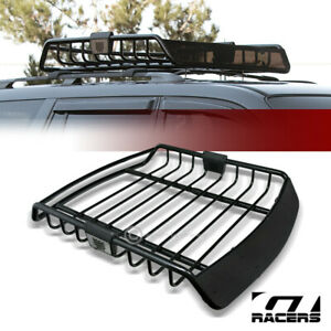 Universal Blk Roof Rack Cage Basket Travel Luggage Holder Top Tray W fairing G23
