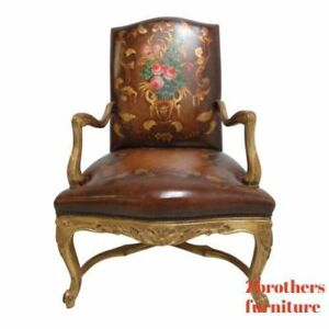 Old Hickory Tannery Leather Living Room Arm Lounge Chair Gold Gilt Hand Painted