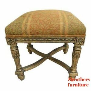 Petite Custom Gold Italian Regency Federal Foot Stool Ottoman Bench