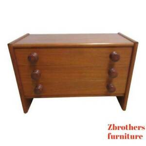 Spejle Teak Danish Modern Sculpted Handles Low Lamp End Table Silver Chest