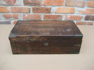 Antique 1800 S English Regency Period Wood Brass Writing Slope Desk Box Secret S