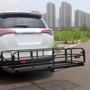Folding Cargo Carrier Luggage Basket 2 Hitch Mount Luggage Mesh Rack Basket