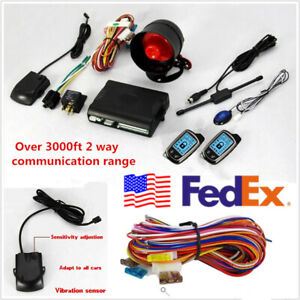 Usa Shipping Dc12v Car Suv 2 way Alarm Security System lcd Controlers Anti theft