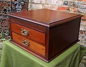 Vintage Mahogany Cutlery Collectors Cabinet 2 Drawers Stationery Filing Papers