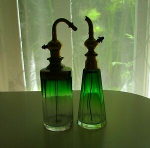 Antique Bohemian Czech Green Cut Crystal Toilette Atomizer Perfume Bottle Set