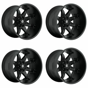 Set 4 20 Fuel Octane D509 Black Wheels 20x12 8x170 44mm Lifted Truck Rims
