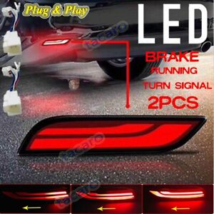 For Toyota Camry 2018 2019 Red Led Bumper Brake Lights W Sequential Turn Signal