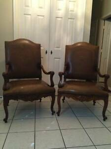 Pair Of Fabulous Handcarved Mahogany Leather Chairs Very Nice
