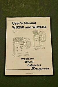 Snap On Wb250 Wb260a Precision Wheel Balancer Users Manual Tire Spin Guide