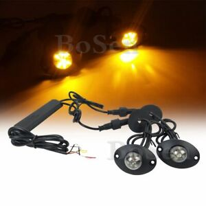 2in1 Hideaway Amber 12w Led Emergency Patrol Vehicle Warning Strobe Light Yellow