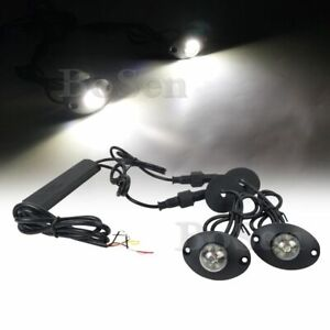 2in1 Hideaway White 12w Led Emergency Patrol Truck Vehicle Warning Strobe Light
