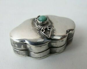 Small Hinged Top Mexican Sterling Silver Pill Box Set With Turquoise Stone