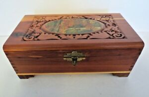 Antique Vintage Deer Decoupage Carved Cedar Wood Dovetailed Dresser Jewelry Box