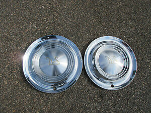 1955 56 Desoto Hubcaps Pair Wheel Covers