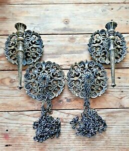 Vtg Gothic Spanish Medievil Candle Holder Sconce Matching Chain Curtain Tiebacks