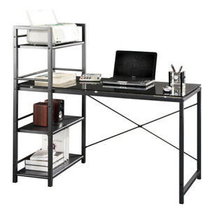 Contemporary Glass Top Computer Desk With 4 shelf Bookcase Black