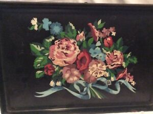 Vintage Tole Black Metal Serving Tray With Hand Painted Floral Design