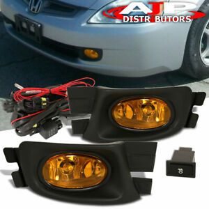 2003 2005 Honda Accord 4 Door Sedan Lx Ex Se Driving Bumper Fog Lights Amber
