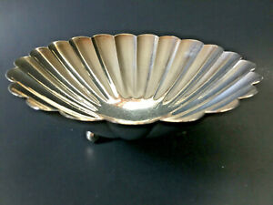 Kuyeda Japanese 950 Sterling Silver Footed Panelled Nut Bowl Dish