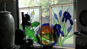 Lot Of 3 Stained Glass Style Windows Floral Flowers