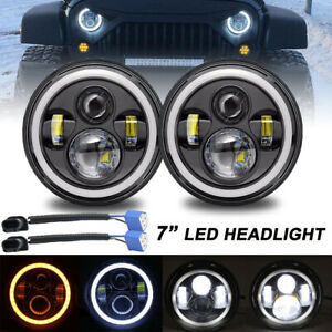 2x 7 Inch Round 200w Total Led Headlights Hi Lo For 97 18 Jeep Jk Tj Lj Wrangler