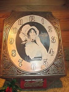 RARE Collectible Vintage Original COCA COLA Clock Victorian Woman Simulated Wood