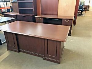 Executive Set Desk Credenza By National Office Furniture In Walnut Laminate