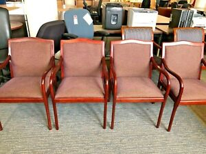 Guest Side Chair By Bernhardt Design W Cherry Finish Wood Base