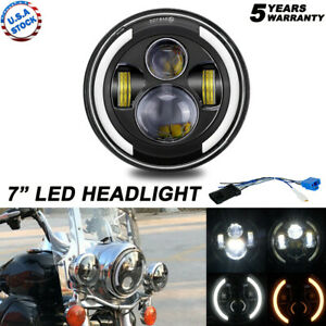 Led Headlight For Harley Motorcycle 7 Inch Round Motorcycle Driving Light Drl