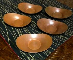 Japanese Old Copper Tea Cup Tray Saucer Chataku 5pcs Tea Ceremony Stamped